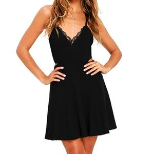 Black Lace Skater Dress